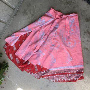 Two-Print Indian Wrap Midi Skirt One Size